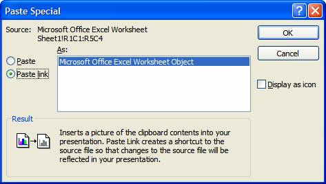 Automatic updating of excel tables in powerpoint slides think in the paste special dialog box select the paste link radio button and the dialog box will look like the following ccuart Image collections